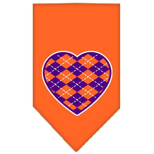 Argyle Heart Purple Screen Print Bandana Orange Large