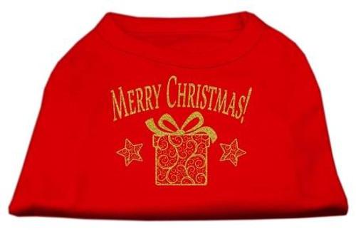 Golden Christmas Present Dog Shirt Red Lg (14)