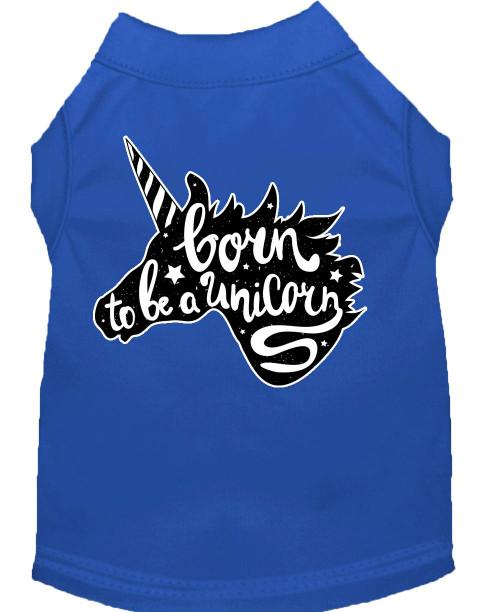 Born To Be A Unicorn Screen Print Dog Shirt Blue Med (12)