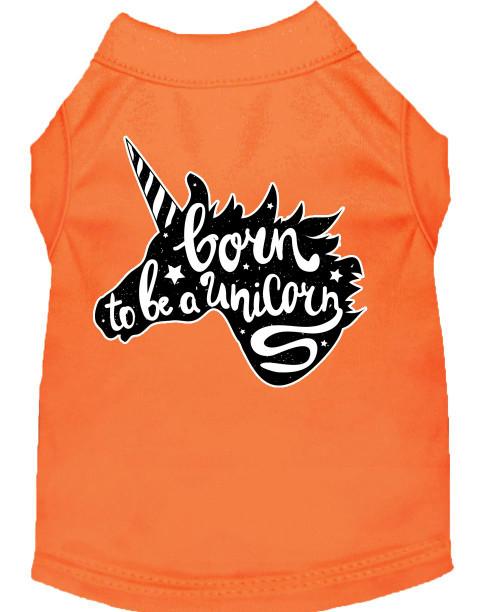 Born To Be A Unicorn Screen Print Dog Shirt Orange Xs (8)