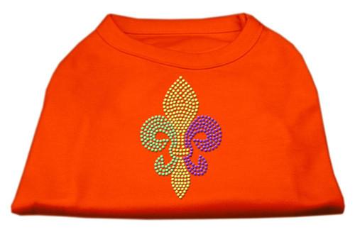 Mardi Gras Fleur De Lis Rhinestone Dog Shirt Orange Sm (10)