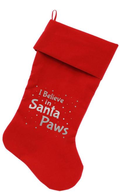 Santa Paws Screen Print 18 Inch Velvet Christmas Stocking Red