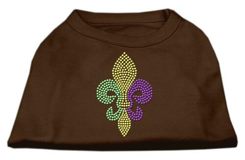 Mardi Gras Fleur De Lis Rhinestone Dog Shirt Brown Sm (10)