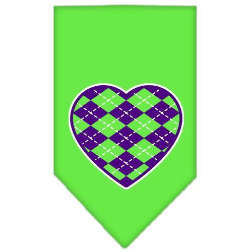 Argyle Heart Purple Screen Print Bandana Lime Green Large