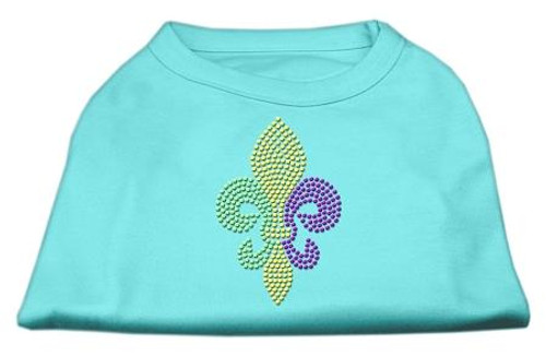 Mardi Gras Fleur De Lis Rhinestone Dog Shirt Aqua Sm (10)