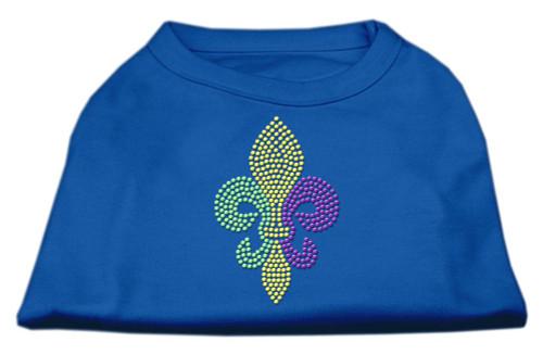 Mardi Gras Fleur De Lis Rhinestone Dog Shirt Blue Sm (10)