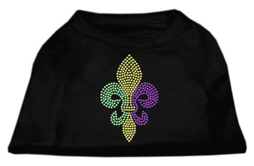 Mardi Gras Fleur De Lis Rhinestone Dog Shirt Black Sm (10)