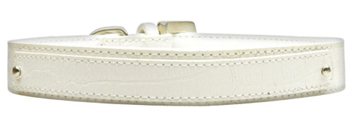 18mm  Two Tier Faux Croc Collar White Large - 18-01 LGWTC