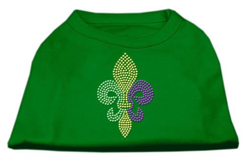 Mardi Gras Fleur De Lis Rhinestone Dog Shirt Emerald Green Sm (10)
