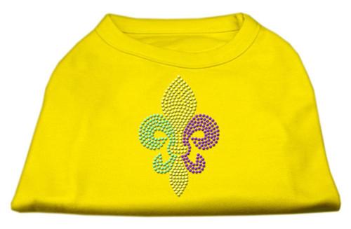 Mardi Gras Fleur De Lis Rhinestone Dog Shirt Yellow Sm (10)