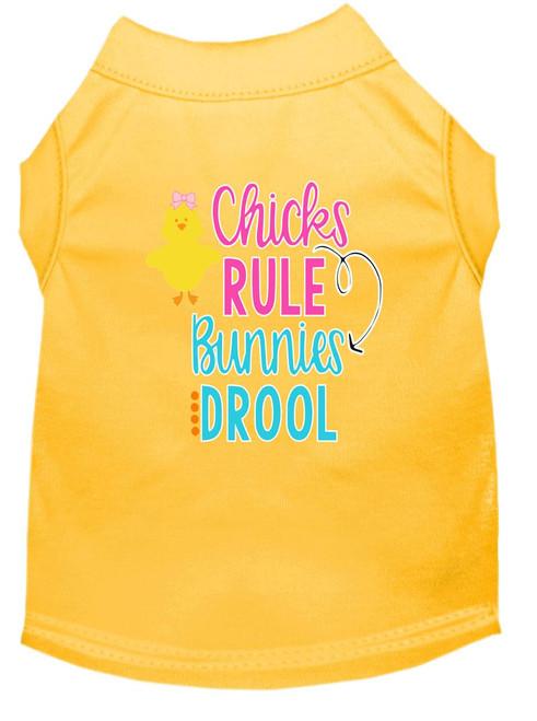Chicks Rule Screen Print Dog Shirt Yellow Med (12)