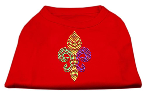 Mardi Gras Fleur De Lis Rhinestone Dog Shirt Red Sm (10)