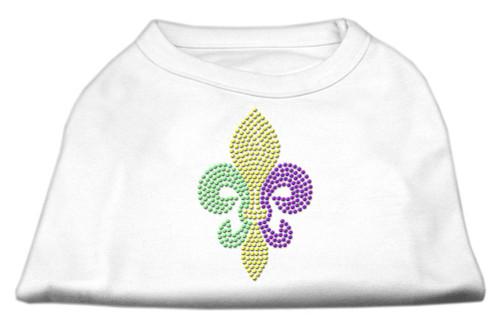 Mardi Gras Fleur De Lis Rhinestone Dog Shirt White Sm (10)