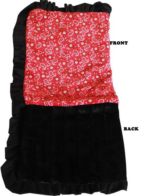 Luxurious Plush Pet Blanket Red Western Jumbo Size