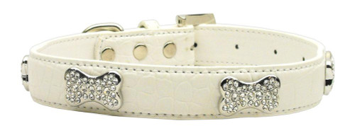 Faux Croc Crystal Bone Collars White Extra Small
