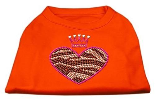 Zebra Heart Rhinestone Dog Shirt Orange Med (12)