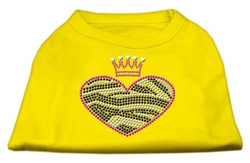 Zebra Heart Rhinestone Dog Shirt Yellow Med (12)