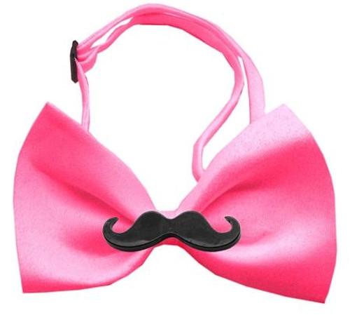 Black Moustache Hot Pink Bow Tie