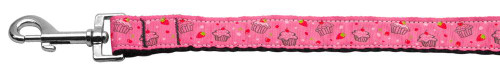 Cupcakes Nylon Ribbon Leash Bright Pink 1 Inch Wide 4ft Long