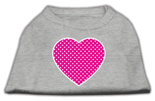 Pink Swiss Dot Heart Screen Print Shirt Grey Xxl (18)