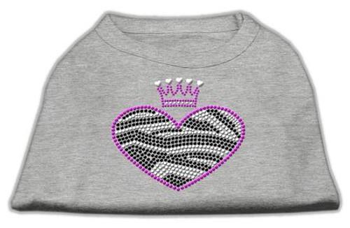 Zebra Heart Rhinestone Dog Shirt Grey Med (12)
