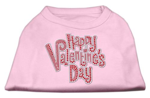Happy Valentines Day Rhinestone Dog Shirt Light Pink Sm (10)