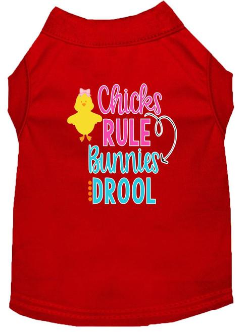 Chicks Rule Screen Print Dog Shirt Red Xxl (18)