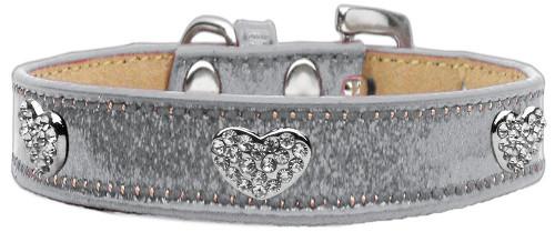 Crystal Heart Dog Collar Silver Ice Cream Size 16