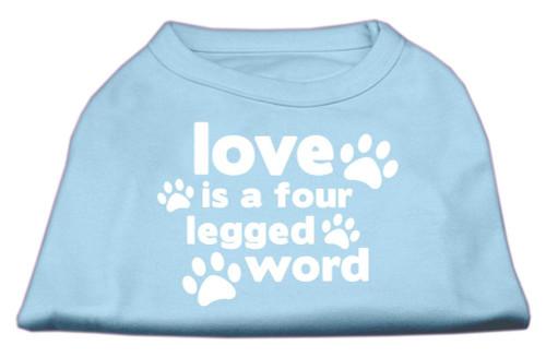 Love Is A Four Leg Word Screen Print Shirt Baby Blue Lg (14)