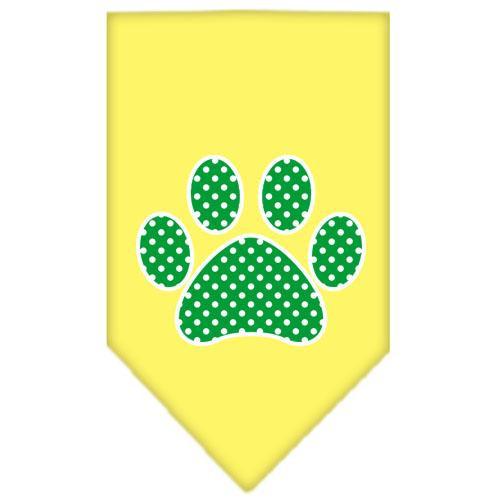 Green Swiss Dot Paw Screen Print Bandana Yellow Small