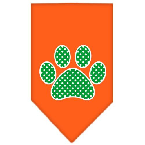 Green Swiss Dot Paw Screen Print Bandana Orange Small