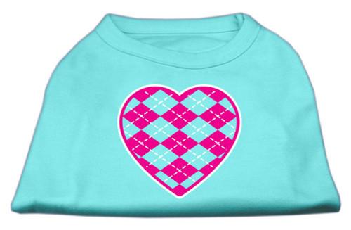 Argyle Heart Pink Screen Print Shirt Aqua Sm (10)
