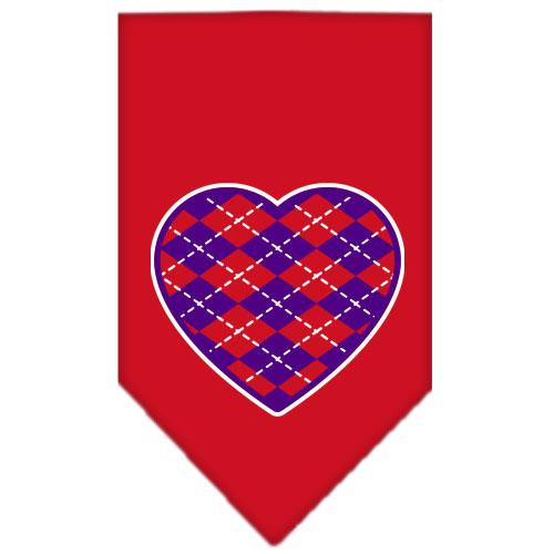 Argyle Heart Purple Screen Print Bandana Red Large