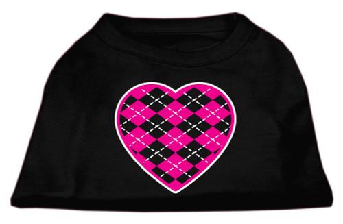 Argyle Heart Pink Screen Print Shirt Black Sm (10)