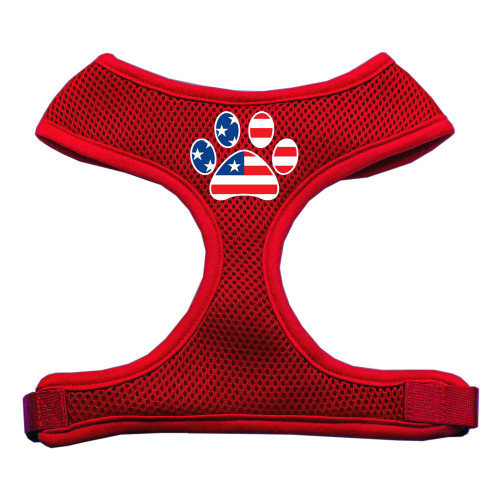 Paw Flag Usa Screen Print Soft Mesh Harness Red Extra Large