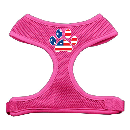 Paw Flag Usa Screen Print Soft Mesh Harness Pink Extra Large