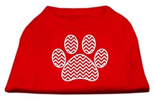 Chevron Paw Screen Print Shirt Red Lg (14)