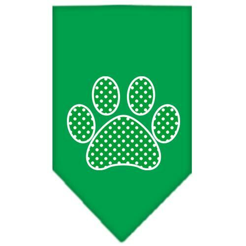 Green Swiss Dot Paw Screen Print Bandana Emerald Green Small