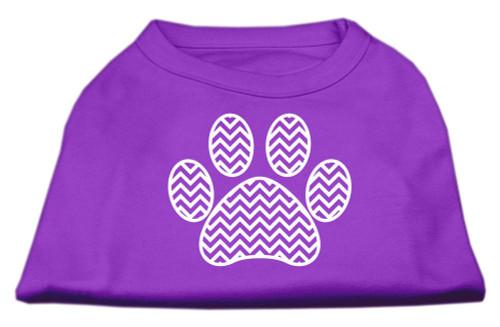 Chevron Paw Screen Print Shirt Purple Lg (14)