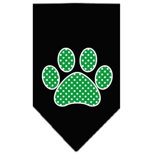 Green Swiss Dot Paw Screen Print Bandana Black Small