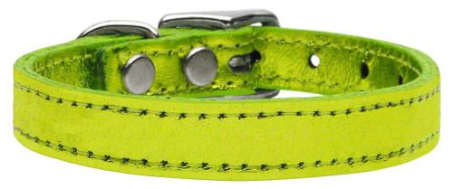 Plain Metallic Leather Lime Green 12