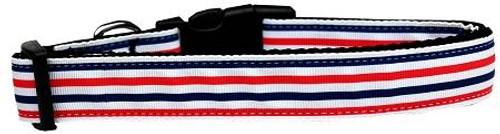 Patriotic Stripes Nylon Dog Collar Medium