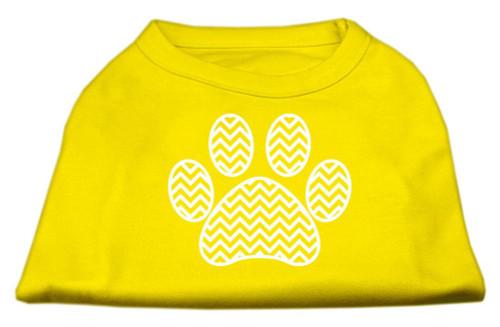 Chevron Paw Screen Print Shirt Yellow Lg (14)