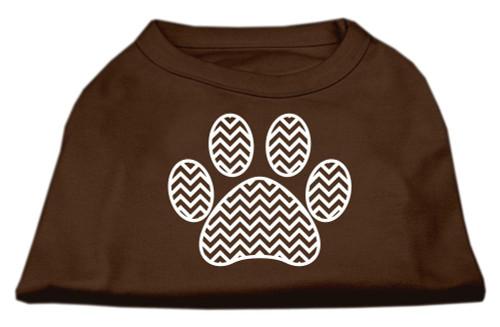 Chevron Paw Screen Print Shirt Brown Lg (14)