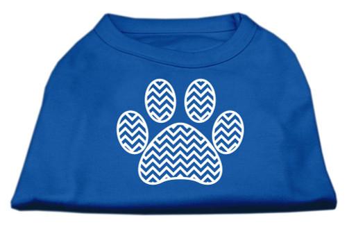 Chevron Paw Screen Print Shirt Blue Lg (14)