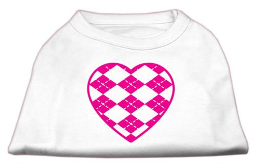 Argyle Heart Pink Screen Print Shirt White S (10)