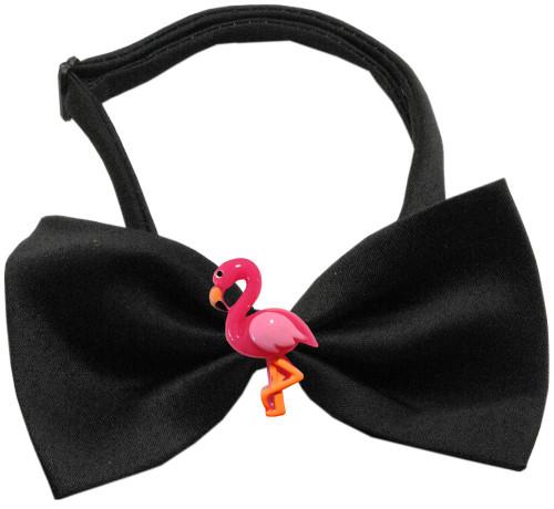 Pink Flamingo Chipper Black Bow Tie