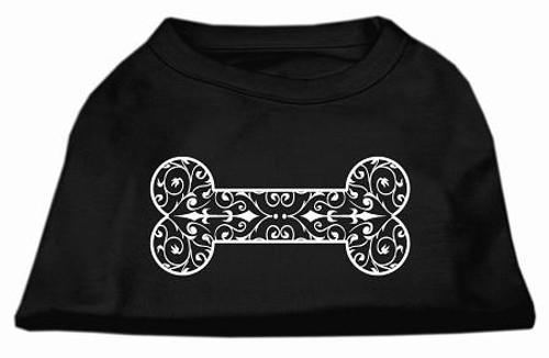 Henna Bone Screen Print Shirt Black Xxxl (20)