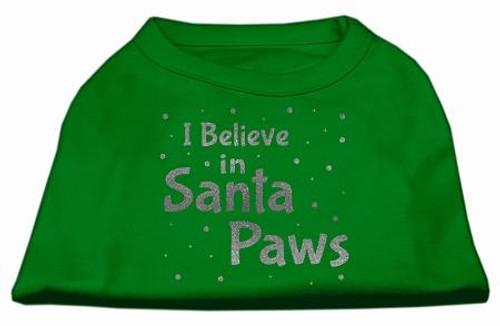 Screenprint Santa Paws Pet Shirt Emerald Green Xs (8)