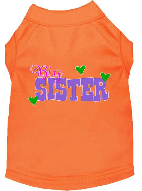 Big Sister Screen Print Dog Shirt Orange Lg